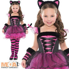 Pink Cat Ballerina Girls Fancy Dress Halloween Animal Child Kids Costume Outfit