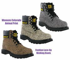 CAT Caterpillar Colorado Leather Leopard Print Fashion Womens Ankle Boots UK3-8