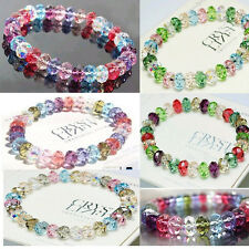 Fashion Crystal Faceted Loose beads Bracelet Stretch Bangle Women's Jewelry Gift