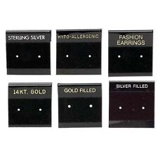 6 Black 1 Inch Square Printed Earring Display Cards with Hanging Tab & Velveteen