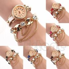Fashion Bohemia Women Faux Leather Rhinestone Wrist Analog Round Dial Watch