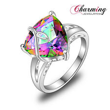 Special Offer Rainbow Mystical Topaz Gemstone Silver Ring For Xmas Gift Sz 7 8 9