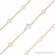 Moon Cut Ball Bead Link Italy 925 Sterling Silver & 14k Rose Gold Chain Necklace