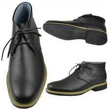 Mens Lace Up High Top Chukka Boots Faux Leather Casual Oxfords Black