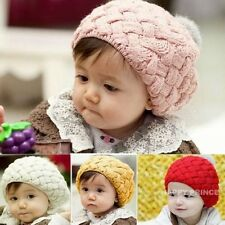 Toddler Kids Baby Boys Girls Knitting Fleece Winter Warm Beret Hat Crochet Cap