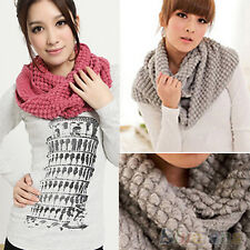 Women Sassy Warm Infinity Wrap 2 Circle Shawl Cable Knit Cowl Neck Long Scarf