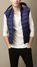 """NEW Burberry Brit Nova Check """"Moores"""" Down Quilted Hooded Vest Lapis Blue"""