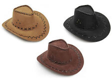 COWBOY COWGIRL HAT STETSON WESTERN RODEO & COWBOY MOUSTACHE FANCY DRESS