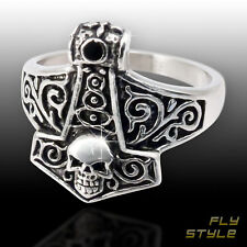 Stainless Steel Thors Hammer Ring men viking rune skull odin norse celtic