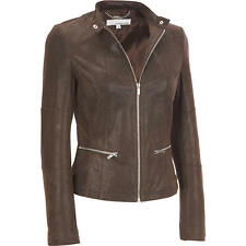 Wilsons Leather Womens Center Zip Vintage Leather Jacket W/ Knit Inset