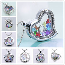 Fashion Floating Charm Living Memory Locket Pendent Necklace Birthstone Charms