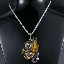 Dragon Necklace Pendant Jewelry Antique Retro Fire Sweater Chain Crystal hot