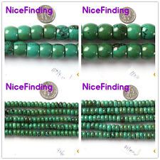 """Roundel Old Turquoise Natural Stone Beads Fashion Jewelry Making 15"""" Size Select"""