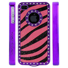 Apple iPhone 5 5S Gem Crystal Rhinestone Pink Black Shimmer Zebra Leather case