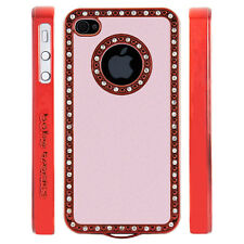 Apple iPhone 5 5S Gem Crystal Rhinestone Pink Leather case