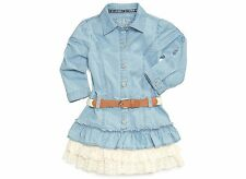 GUESS 100% Cotton Light Chambray Dress w/Belt & Rhinestone Logo  GIRL SIZES NWT