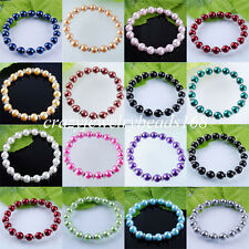 Free shipping Pearl Round 8mm Beads Stretch Bracelet 7 Inches Charm BK143