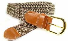 "401 - 1.25"" WIDE ELASTIC BRAIDED NYLON STRETCH BELT, BROWN & BEIGE-MIX, 6 SIZES"