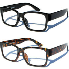 Bold Polished Frame Clear lens Glasses Retro Fashion Squared Style Nerd Hipster
