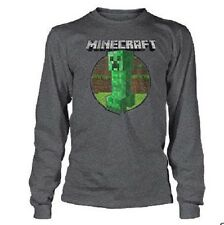 Minecraft Retro Creeper Licensed Youth Long Sleeve Shirt - Grey