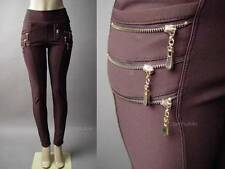 Cyber Dieselpunk Steampunk Exposed Zipper Banded High Waist Brown 111 mv Pants L
