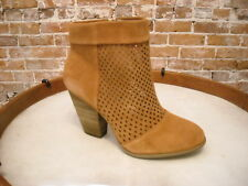 Sole Society Sidney Luggage Brown Perforated Suede Ankle Boot NEW