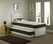 New! 3FT Single 3 in 1 Guest Bed Inc Mattress + Headboard 6 Faux Leather Colors