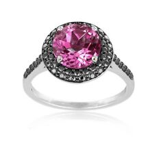 925 Silver 2.25ct Created Pink Sapphire & Black Diamond Accent Round Ring