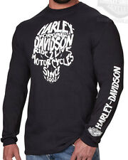 Harley-Davidson Mens Legendary Skull Glow In The Dark Black Long Sleeve T-Shirt