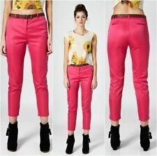 RARE LONDON Cigarette Skinny Trousers with Belt Pink (z691)