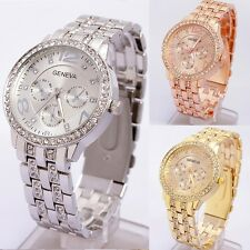 Hot Unisex Crystal Geneva Bling Women Girl Stainless Steel Quartz Wrist Watch