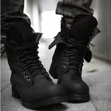 Retro Combat boots Winter England-style fashionable Men's short Black shoes T228