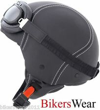 Caberg Jet Century Black Leather With  Goggles Open Face Motorcycle Helmet