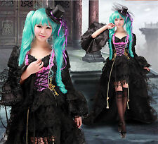Vocaloid Hatsune Miku Black&Pink Cosplay costume Dress S-XL Customized Size