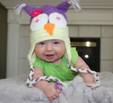 HANDMADE CROCHET KNIT BABY & KID HATS-OWL WITH FLOWER-PURPLE/YELLOW-SIZE 0-8 YRS