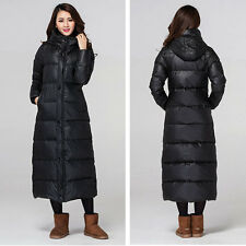 Womens Winter 90%Duck Down Jacket full length Hooded parka puffer coat black Hot