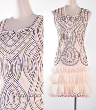 Vintage 1920's DRESS Art Nouveau Deco Gold Great Gatsby Beads Party  RD 3254