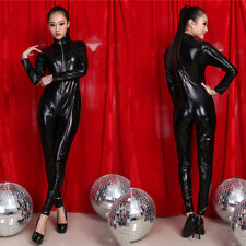 Sexy PVC Leather Zip Clubwear Catsuit Dress Front Costume Halloween Women Black
