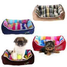 Pet Dog Puppy Cat Kitten Warm Cozy Bed House Nest with Soft Mat Pad Stripes S