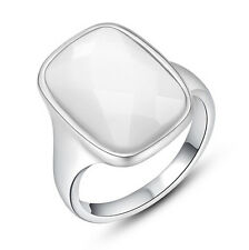 NICW Jewelry Womens Austrian Crystals White Gold Filled Huge Gem Ring Size 6,7,8