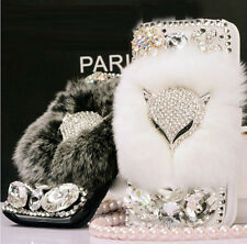 Luxury Bling Fox Rabbit Fur Diamond Leather Wallet Case Cover For Samsung Galaxy