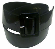 """BLACK PATENT LEATHER BELT FOR WOMEN, 2"""" WIDE, MATCHING RECTANGULAR BUCKLE"""