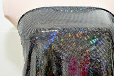 SHATTERED GLASS SPANDEX HOLOGRAM BLACK/SILVER FABRIC COSTUME  DANCE GYMNASTIC