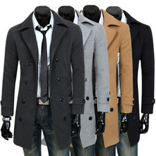 New Men's Stylish Slim Fit Casual Double Breasted Long Jacket Coats M-XXL