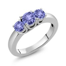 1.06 Ct Round Blue Tanzanite 925 Sterling Silver Ring