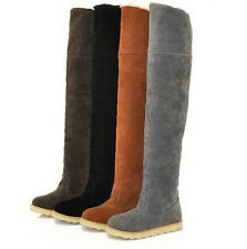 Womens Over Knee Faux Suede Stretch Thigh Flat Heel Boots Sexy Shoes New 4.5-8.5