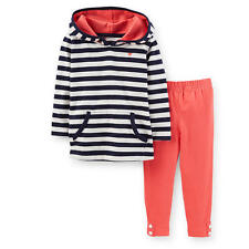 Carter's Girls 2 Piece Navy Striped Long Sleeve Hooded Top & Solid - Toddler