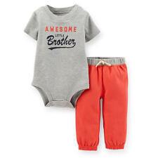 """Carter's Boys 2 Piece Grey """"Awesome Little Brother"""" Short Sleeve Bodysuit & Red"""