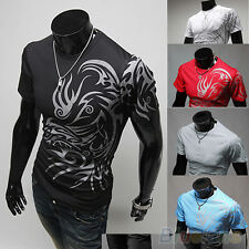 New Fashion Men Tattoos Printed Short Sleeve Crew Neck Tee T-Shirt Slim Fit Tops