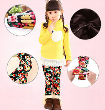 Winter Girls Kids Leopard Thick Warm Pant Child Stretch Cotton Leggings 4-8Y